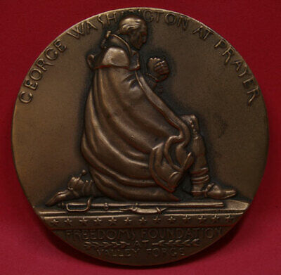 George Washington At Prayer Bronze Heavy Coin By Wendell August Forge