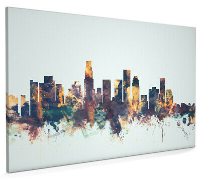 Los Angeles California Skyline Box Canvas and Poster Blue background (1587)