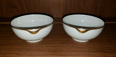 "Haviland Limoges French China Plates Saucer Bowls 5"" Gold Trim"