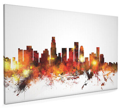 Los Angeles California Skyline Cityscape Box Canvas and Poster Art (1085)