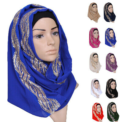 Muslim Women Hijab Rhinestone Long Scarf Islamic Shawls Head Wrap Scarves Shayla