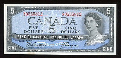 1954 Bank of Canada $5 Banknote - BC-39a - S/N: O/C0555812
