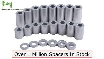 "New Aluminum Spacer Bushing 1/2"" OD x 1/4"" ID--Fits M6 or 1/4"" Bolts"