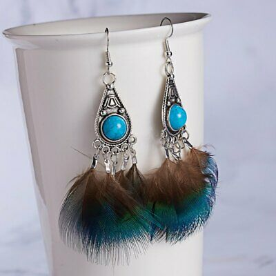 2019 Hot Design Peacock Feather Hook Drop Dangle Earring Statement Jewelry Party