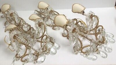 Antique Pair Italian Crystal Macaroni Beaded Wall Sconce Chandelier 3 light 29""