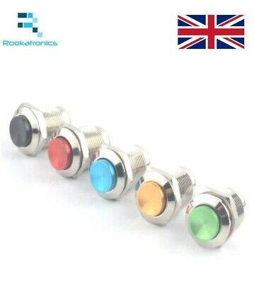 12mm Metal Steel Round Push Button Momentary Switch Red Green Blue Gold Black