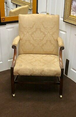 A Large Chippendale Mahogany Gainsborough Library Armchair