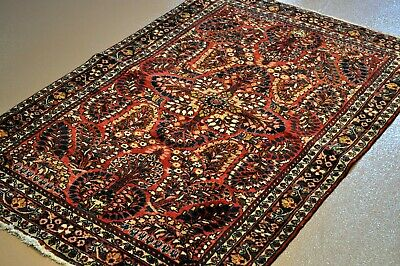 """ON SALE 3'4"""" x 5' Antique Persian Sarouk Circa 1920's Red Wine color PERFECT RUG"""