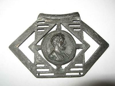 Ancient Old Massive Bronze Roman Belt Buckle Application Replica