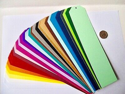 Gift Tags x 10 Long Thin 30 colours 44.5mm x 203mm  Create own tag MULTI-BUY