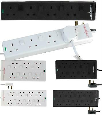 4/6/8 Socket Mains Extension Lead Surge Protected Individual Switch 1m 2m 5m 10m