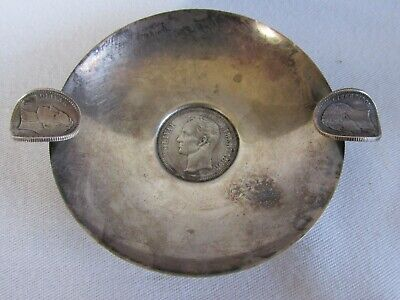 Unusual Vintage Sterling Silver Ashtray from Venezuela with Silver Coins