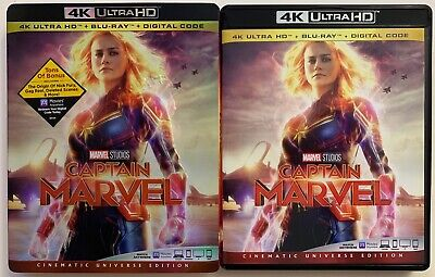 Captain Marvel 4K Ultra Hd Blu Ray 2 Disc Set + Slipcover Sleeve Free Shipping