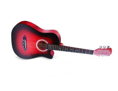 """38""""Red New Beginners Acoustic Guitar With Guitar Case, Strap, Tuner and Pick USA"""
