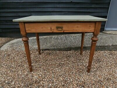 BEAUTIFUL 19th CENTURY PINE KITCHEN DINING TABLE WITH PAINTED TOP WE CAN DELIVER