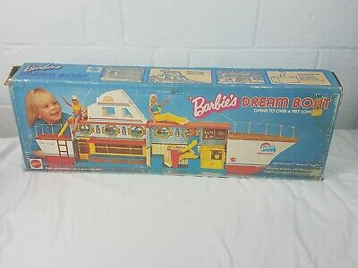 Barbie Dream Boat Vintage 1974 Mattel Playset Ship Boat Bunk Beds Dining Kitchen