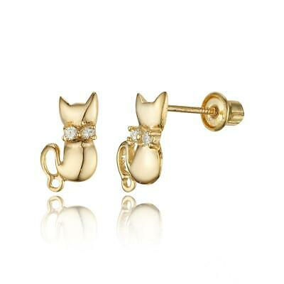 a5947134a 14k Yellow Gold Cat Cubic Zirconia Children Screwback Baby Girls Stud  Earrings