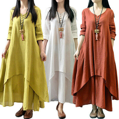 women Dress White Ginger loose peasant summer Ethnic Long soft comfortable