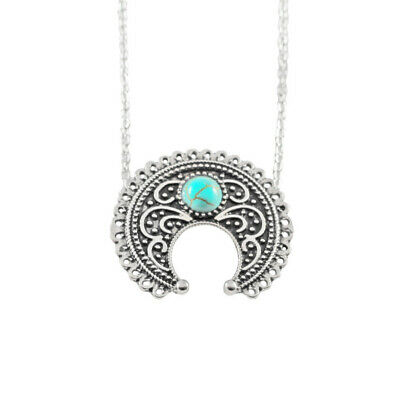 Vintage Ethnic Silver Long Chain Women Moon Turquoise Pendant Necklace Jewelry