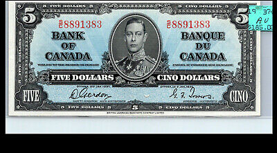 Canada 1937 -  A.UNC+  $5 GORDON/TOWERS BANKNOTE