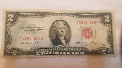 ✯ 1953  or  1963 Two Dollar Note Red Seal ✯$2 Bill ✯US CURRENCY✯OLD MONEY✯