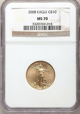 2008 $10 Gold Liberty Eagle NGC MS70 Gorgeous 1/4 Ounce Perfect Coin GEM BU PQ