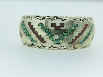 Sterling Silver Coral Turquoise chip inlay Navajo Cuff Bracelet Monroe Ashley