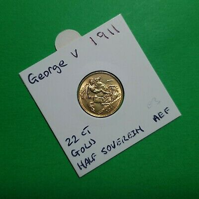 1911 George V Gold Half Sovereign Coin - 22ct Gold about EF