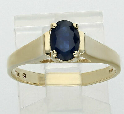 Sapphire solitaire estate ring 14K yellow gold natural oval .85CT birthstone sz8