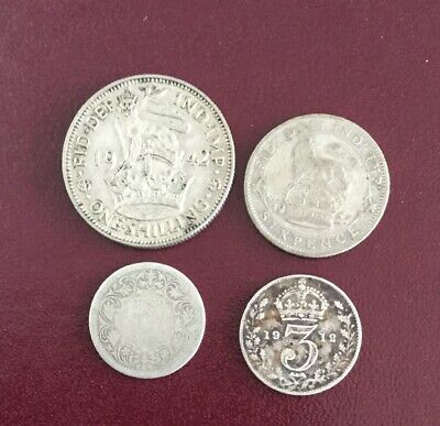 Mixed British Silver Coins Inc Queen Victoria Silver Indian Coin #73