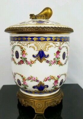 19th Century Rare Antique Hand Painted Bronze Mounted French Sevres Sugar