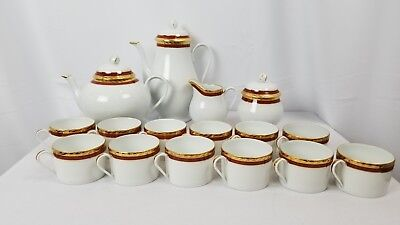 LIMOGES Maroon And Gold Trim For TIFFANY & CO Coffee And Tea Set Service For 12