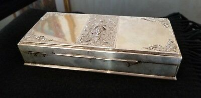 Large Stunning Thai Sterling Silver Box Burl Wood Interior 572 grams