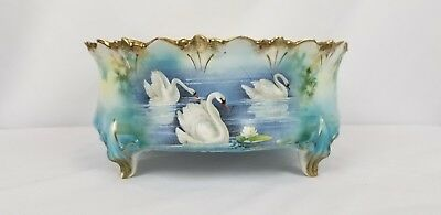 "RS Prussian Swan Porcelain Bowl 9""X4"""