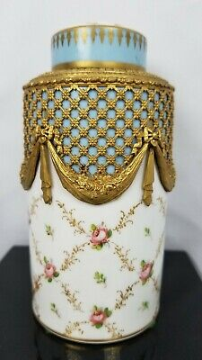 Exceptional Bronze Ormolu Hand Painted Porcelain Jar W/ Lid Sevres Style 19th C.