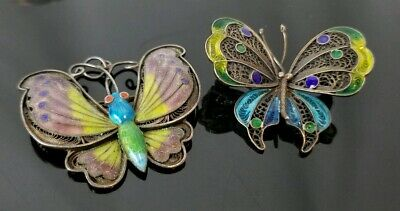 Antique Chinese Republic Period Sterling Silver Enamel Butterfly Brooches