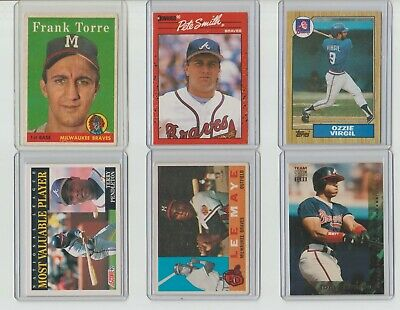 Lot Of Thirty Five Different Atlanta Braves Vintage Baseball Cards