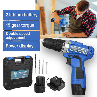 12V CORDLESS DRILL DRIVER ELECTRIC SCREWDRIVER 2 SPEED With BATTERY TOOLS KIT