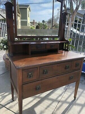 Rare  Antique 1940s  Dresser + Mirror Early American Style Chest
