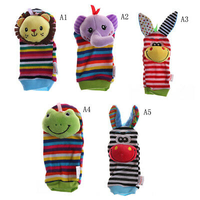 Multi Shape Soft Toy Animal Infant Kids Hand Wrist Bells Foot Sock Rattle mo