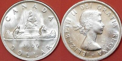 Brilliant Uncirculated 1960 Canada Silver 1 Dollar From Mint's Roll