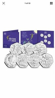 LOW PRICE-2019 PETER PAN 50p 6 X COIN COMPLETE SET 90th ANNIVERSARY PACKAGING