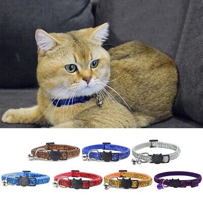 Adjustable Kitten Cat Reflective Shiny Pet Safety Nylon Collar with Bell Collar