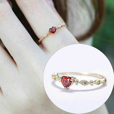 14K Gold Tiny Heart-Shaped Ruby Exquisite Diamond Ring Charm Engagement Jewelry