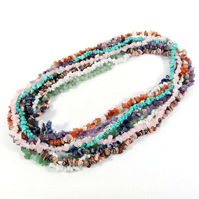 "Natural Gemstone Chip Beads Necklace 28"" Carnelian Turquoise Amethyst Quartz"