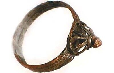 Medieval Roman Byzantine Constantinople Istanbul Intricate Crown Ring AD900 Sz8