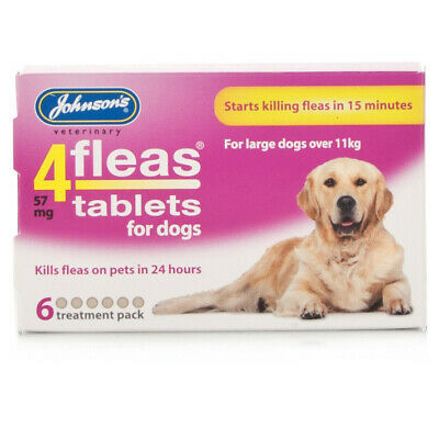 Johnsons Veterinary Products 4Fleas Dog Tablets, Large, 57 mg, 6 Tablets x 1