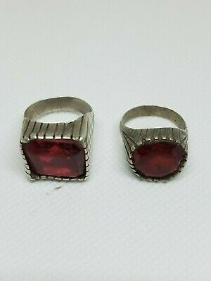 Two Antique Silver Yemeni Bedouin Rings old Agate Stone Original