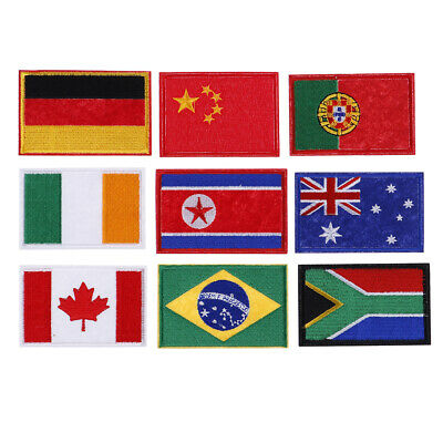 Nation flag emblem embroidered trim applique national country sew/iron patch Si
