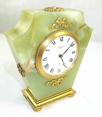 Green Onyx & Gilt IMHOF 8 Day Mantel Bracket Clock 15 JEWELS SWISS MADE